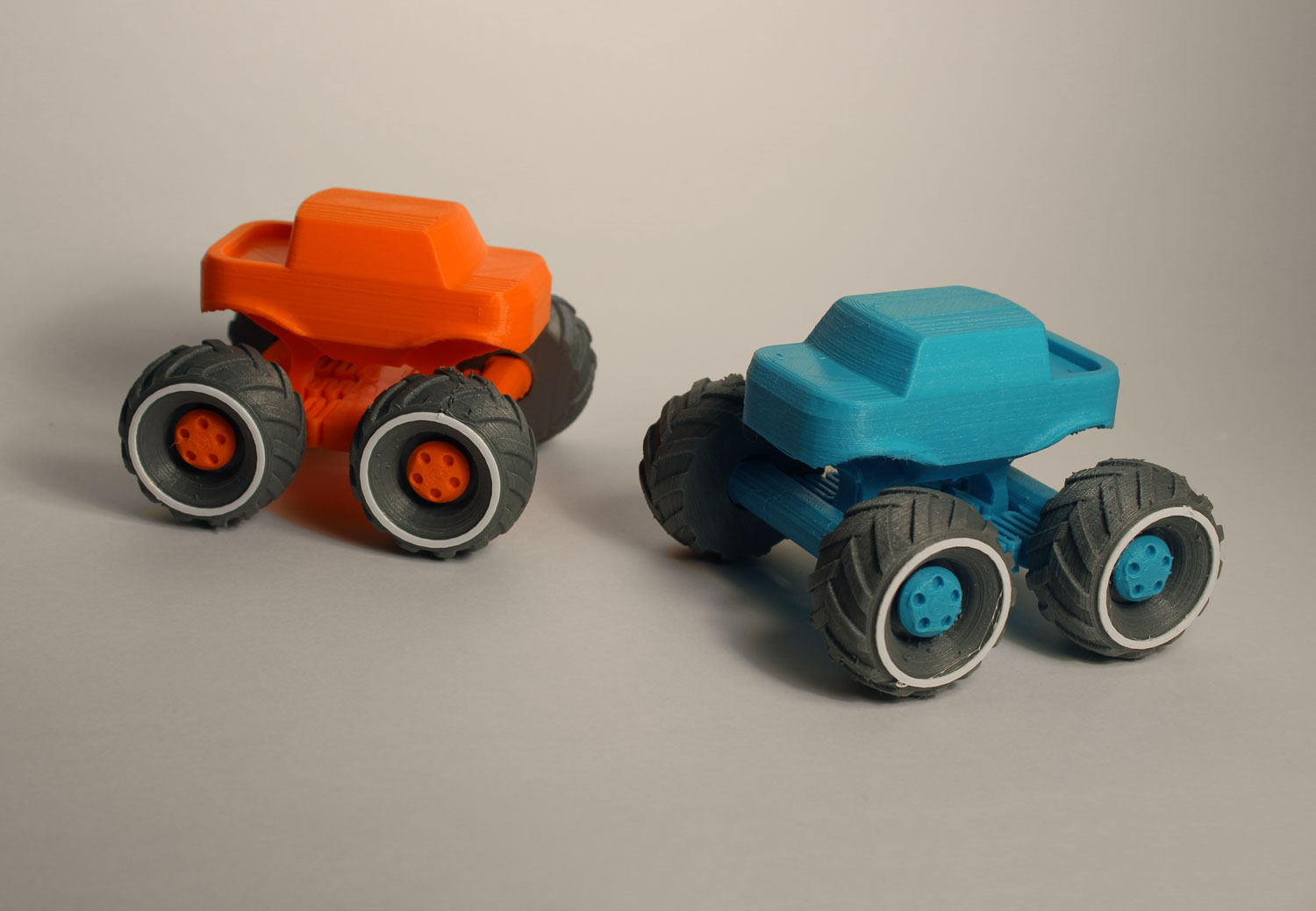 3d printed monster truck car vehicle orange blue wheel child toy