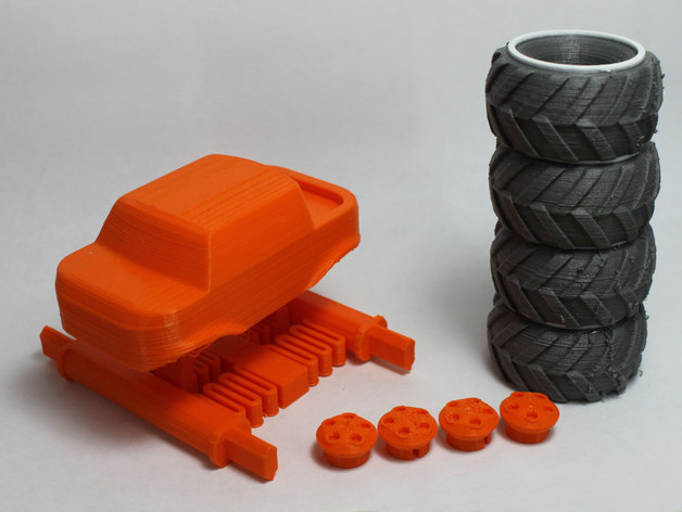 3d printed monster truck car vehicle orange blue wheel child toy dissassembled parts