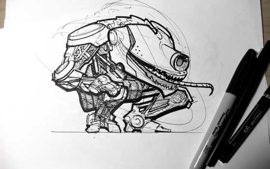 robot-ink-hand-sketch-photo-pen-marker