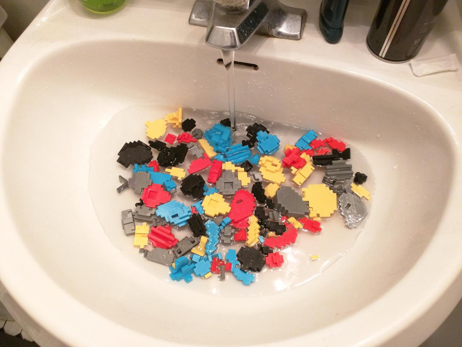 washing parts 3d printed super mario nintendo 8 bit retro print classic sink