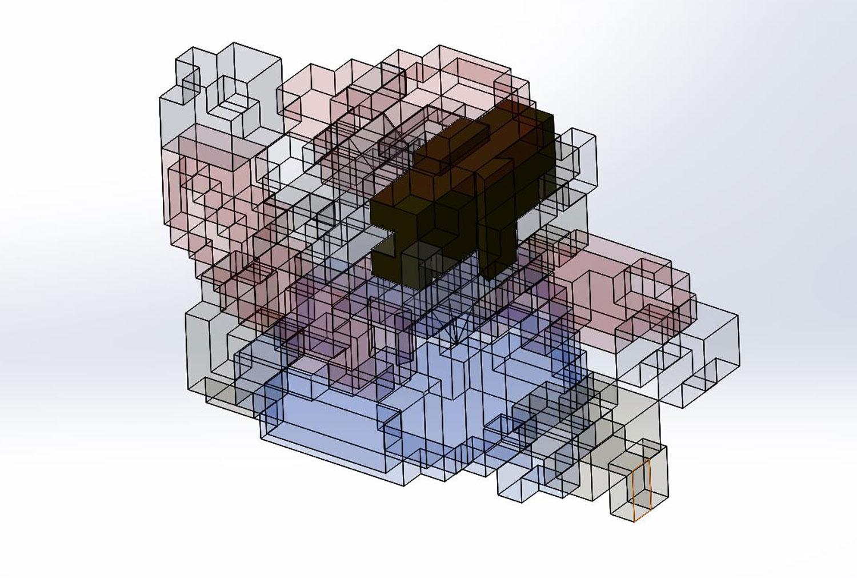 3d model assembly isolate 3d printed super mario nintendo 8 bit retro print classic