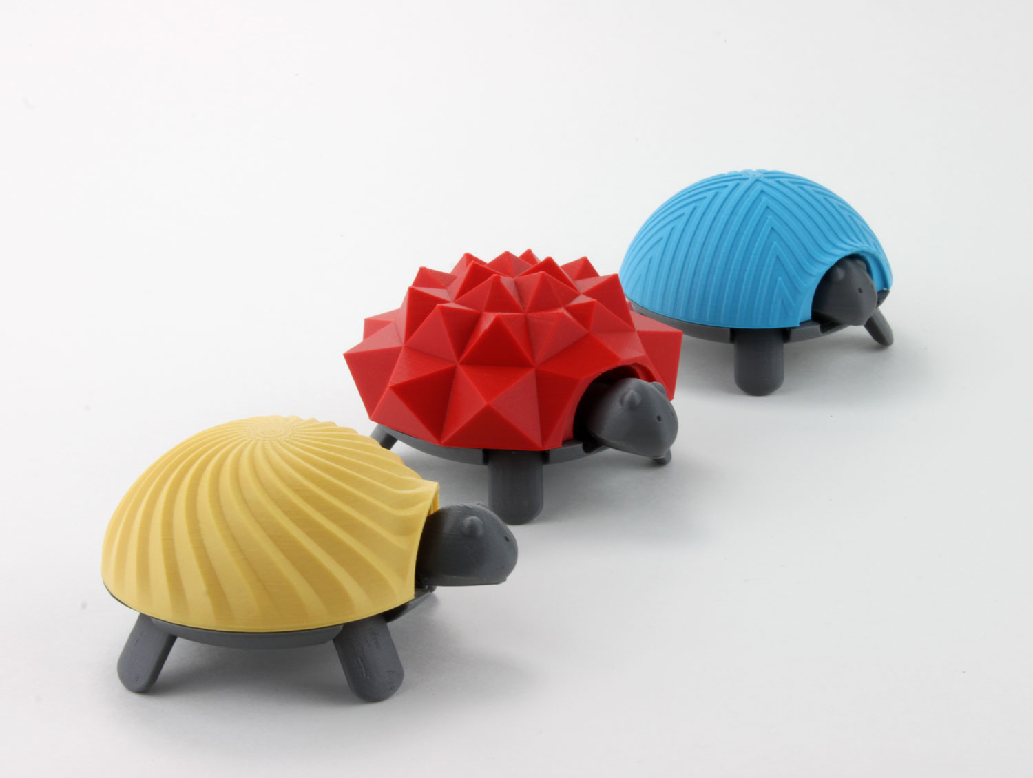 03 lineup patterns 3d printed squishy turtle nature animal toy kids project design colorful