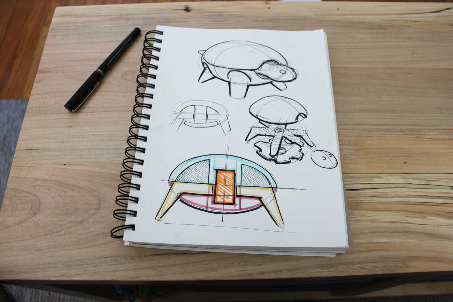 02 industrial design concept sketch 3d-printed-squishy-turtle-nature-animal-toy-kids-project-design-colorful