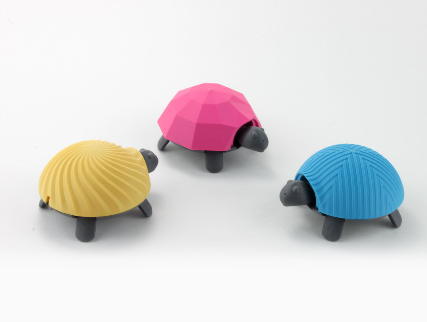 cmyk group 3d printed squishy turtle nature animal toy kids project design colorful